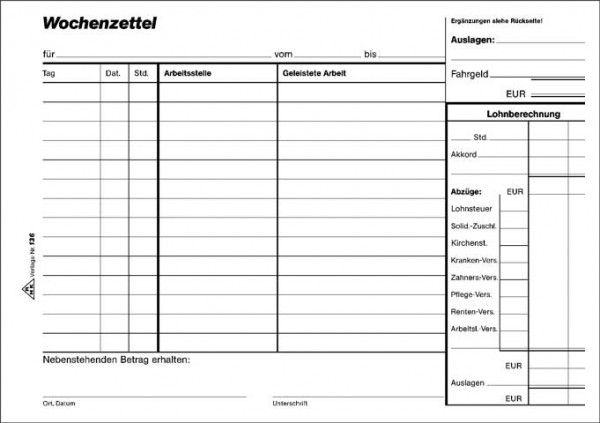 Wochenzettel - Block, 100 Blatt, DIN A5 quer zur Arbeitszeiterfassung und Lohnabrechnung