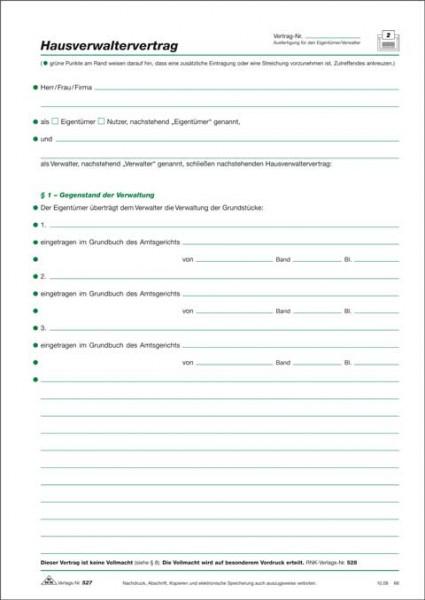Hausverwaltervertrag, 4 Seiten, gefalzt auf DIN A4 zur Grundstücksverwaltung