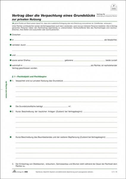 Vertrag über die Verpachtung eines Grundstücks, 4 Seiten, gefalzt auf DIN A4 für die Verpachtung eines Grundstücks zur privaten Nutzung