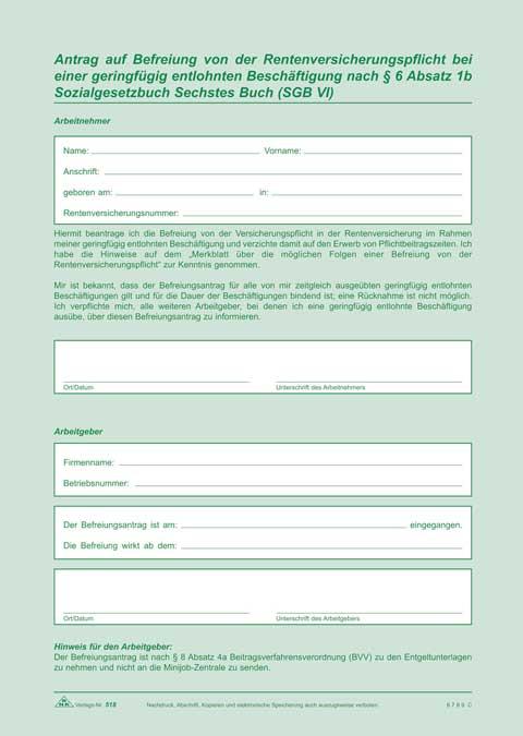 Arbeitsvertrag Für Geringfügig Beschäftigte Minijob Und