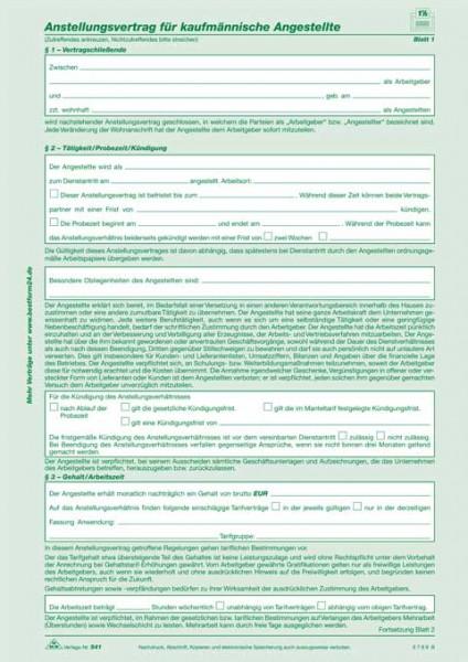 10 x Anstellungsvertrag für kaufmännische Angestellte - selbstdurchschreibend