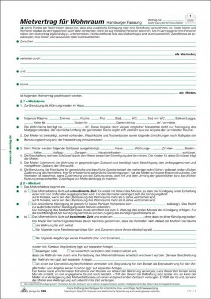Mietvertrag für Wohnraum - Hamburger Fassung, 6 Seiten, gefalzt auf DIN A4 nach Norddeutschem Brauch