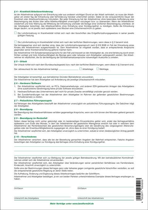 10 X Arbeitsvertrag Für Gewerbliche Arbeitnehmer Arbeitsverträge