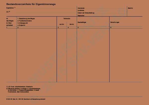 Bestandsverzeichnis für Eigentümerwege