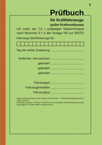 Prüfbuch für Kraftfahrzeuge mit mehr als 7,5 t, Umschlag