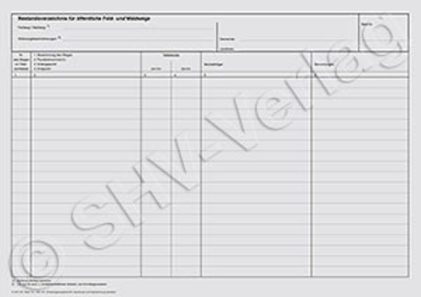 Bestandsverzeichnis A3 (tabellarisch) für öffentliche Feld- und Waldwege