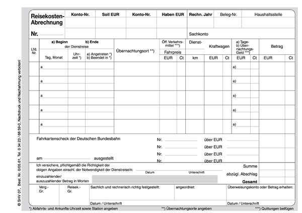 Reisekostenabrechnung, Dienstreiseauftrag, Rueckseite