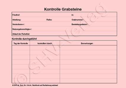 Kontrolle Grabsteine (Rüttelkartei)