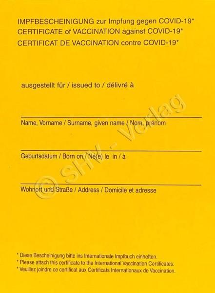 Internationale Impfbescheinigung gegen COVID-19 Seite 1