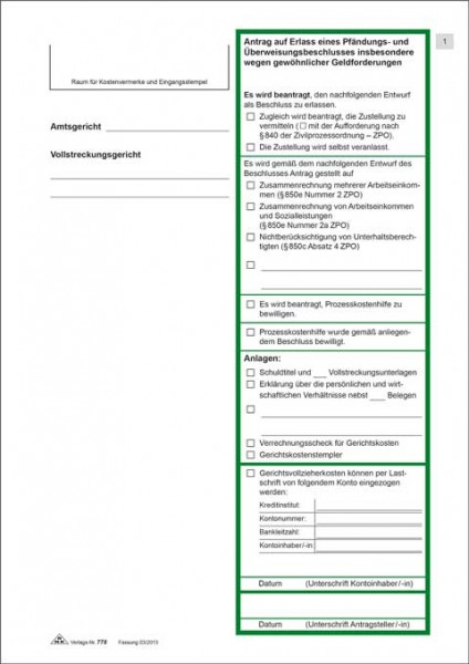 Antrag auf Erlass eines Pfändungs- und Überweisungsbeschlusses zur Pfändung von sonstigen Geldfordrg