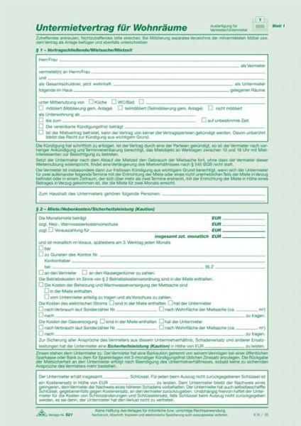 Untermietvertrag für Wohnräume - SD, 2 x 2 Blatt, DIN A4 selbstdurchschreibend