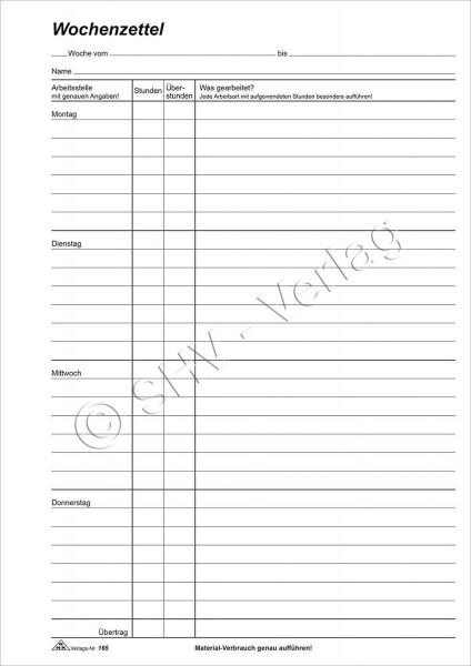Wochenzettel - Block, 100 Blatt, DIN A4 zur Erfassung der Arbeitsleistung mit Wocheneinteilung