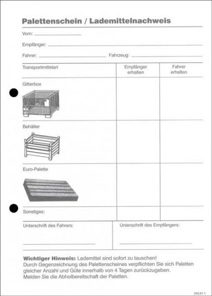 Palettenschein / Lademittelnachweis - Block hochformat