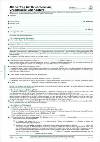 Mietvertrag für Gewerberäume Grundstücke und Kontore