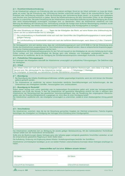 Arbeitsvertrag Anstellungsvertrag Für Teilzeit Beschäftigung