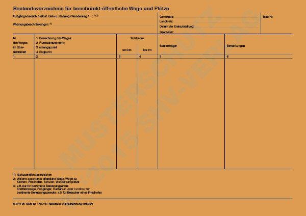 Bestandsverzeichnis für beschränkt-öffentliche Wege- und Plätze
