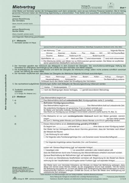 Universal-Mietvertrag für Wohnungen - SD, mit Übergabeprotokoll, 4 x 2 Blatt, DIN A4 selbstdurchschreibend