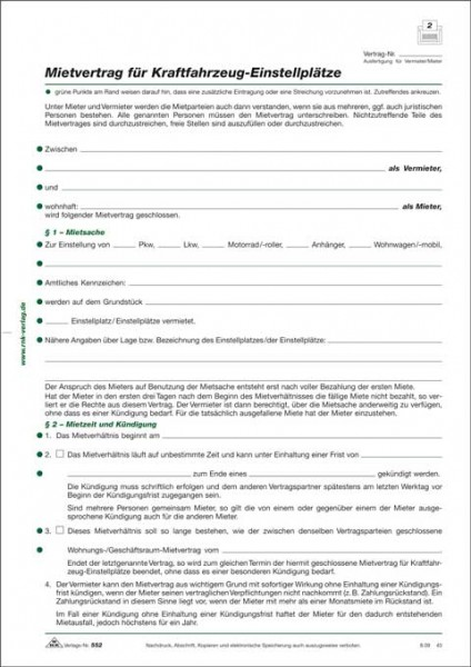 Mietvertrag für Kraftfahrzeug-Einstellplätze