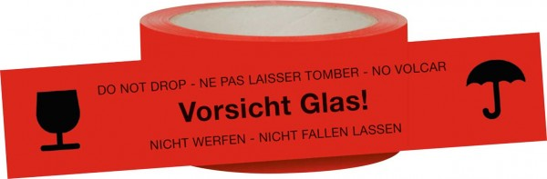 """Signalklebeband """"Vorsicht Glas! Nicht werfen -Nicht fallen lassen"""""""