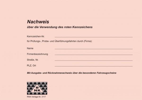 Nachweisheft für rote Kennzeichen Umschlag 1