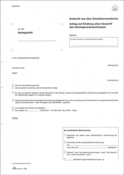 Auskunft aus dem Schuldnerverzeichnis