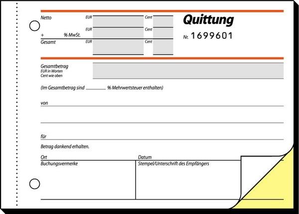 Nummerierter Quittungsblock, 2-fach SD m. Mehrwertsteuer