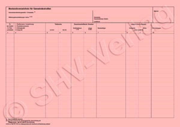 Bestandsverzeichnis A3 (tabellarisch) für Gemeindestraßen