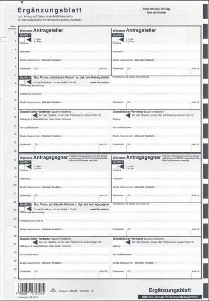 Ergänzungsblatt für den Antrag auf Erlass eines Mahnbescheids für das automatisierte Mahnverfahren