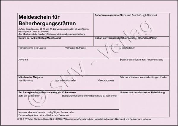 Meldeschein für Beherbergungsstätten - Block, alle Bundesländer
