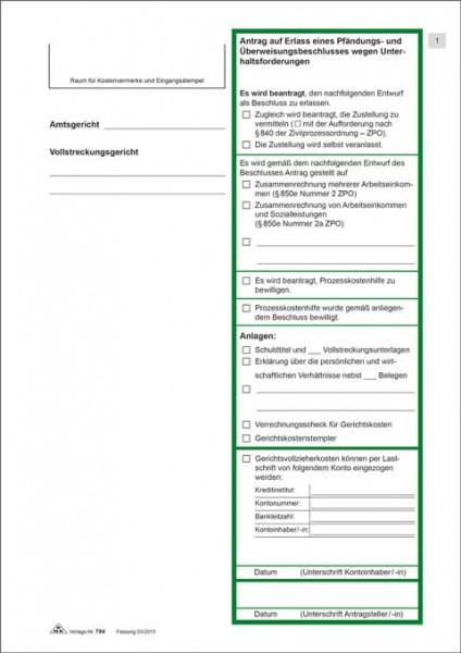 Antrag auf Erlass eines Pfändungs- und Überweisungsbeschlusses zur Pfändung wegen Unterhaltsansprüchen Seite 1