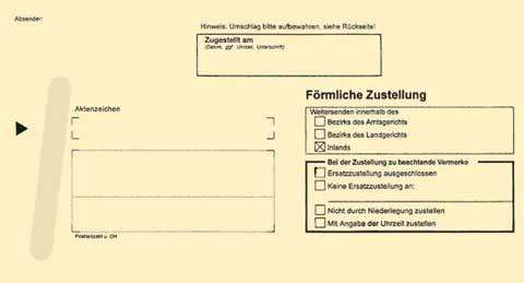 Zustellungsumschlag Format 224 x 114 mm - Anschriftenfeld durchschreibend