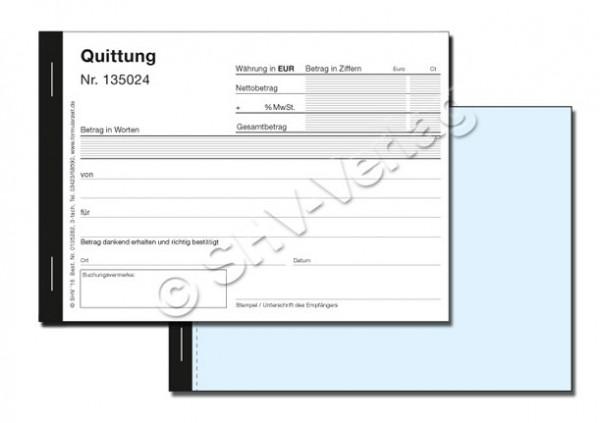 Quittungsblock 3-fach SD, nummeriert, MwSt, 3x50 Blatt