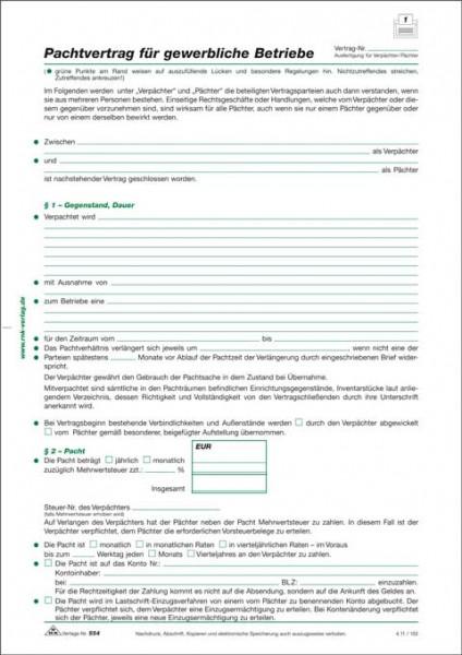 Pachtvertrag für gewerbliche Betriebe, 4 Seiten, gefalzt auf DIN A4 zur Verpachtung von Unternehmen und Betrieben