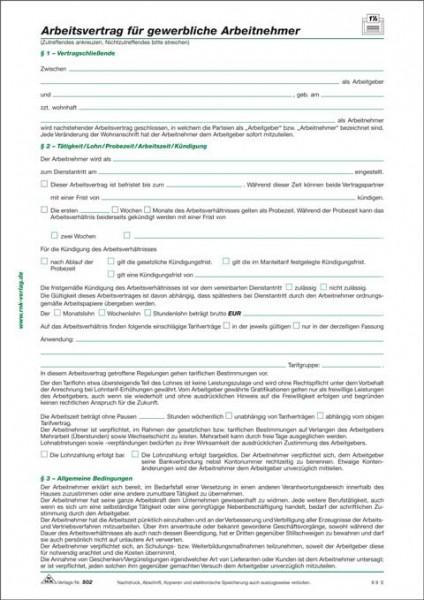 10 x Arbeitsvertrag für gewerbliche Arbeitnehmer
