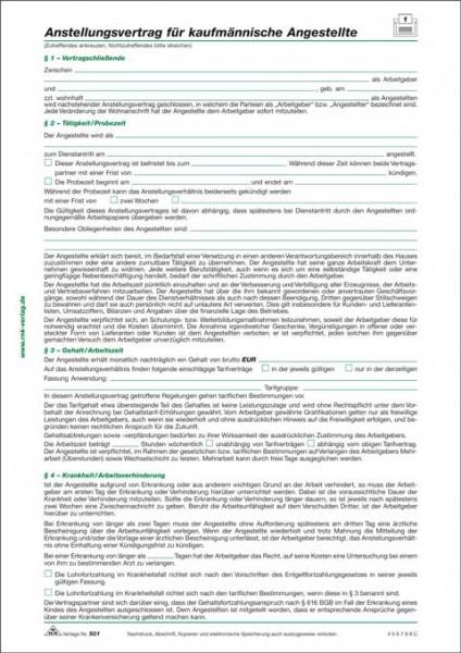 10 x Anstellungsvertrag für kaufmännische Angestellte