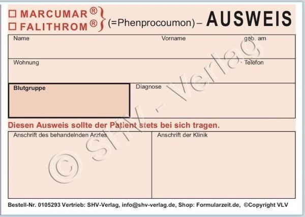 Behandlungsausweis ( Falithrom®/Marcumar® ) Seite 1