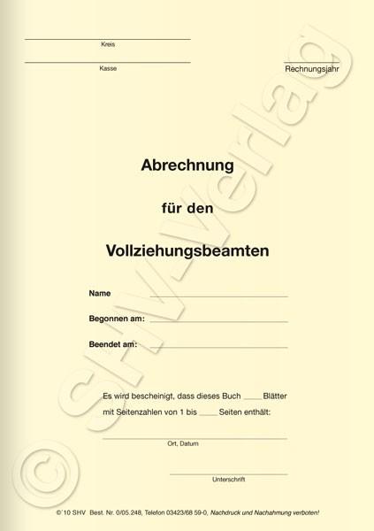 Abrechnungsbuch für Vollziehungsbeamte