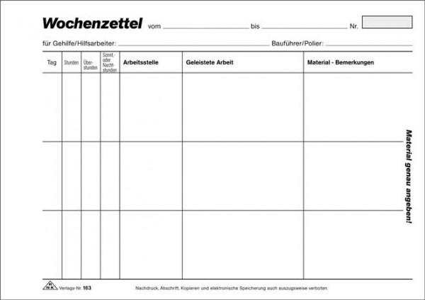 Wochenzettel - Block, 100 Blatt, DIN A5 quer zur detaillierten Arbeitszeiterfassung mit Materialverbrauch