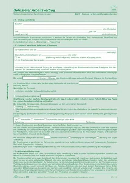 Befristeter Arbeitsvertrag - SD, 2 x 2 Blatt, DIN A4, + 1 Seite, DIN A4, mit Hinweisen mit oder ohne Sachgrund