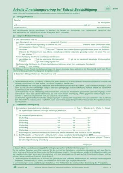 Arbeitsvertrag / Anstellungsvertrag für Teilzeit-Beschäftigung