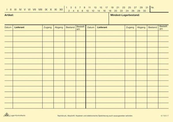 Lager-Kontrollkarte DIN A5 Vorderseite