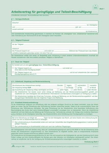 Arbeitsvertrag für geringfügig Beschäftigte / Minijob und Teilzeitbeschäftigte