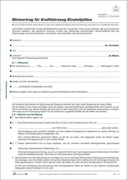 Mietvertrag für Kraftfahrzeug-Einstellplätze 1