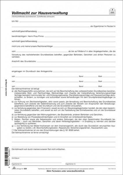 Vollmacht zur Hausverwaltung, 1 Seite, DIN A4 zur Grundstücksverwaltung