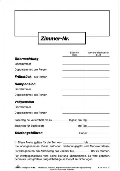 """Hinweisschild """"Zimmerpreisliste"""", 1 Seite, DIN A5 zur vorschriftsgemäßen Dokumentation der Preise"""