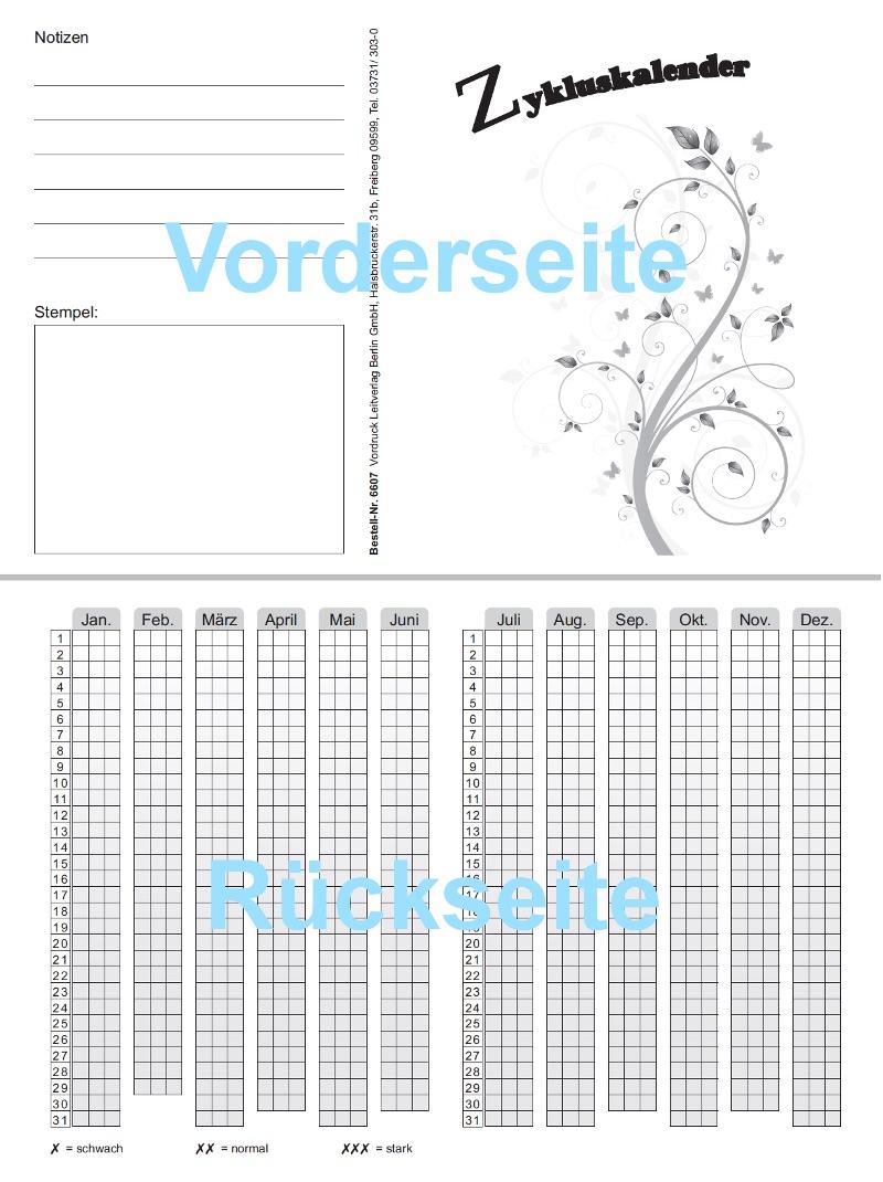 Menstruations- bzw. Zykluskalender   Webshop SHV-Verlag für Behörden ...