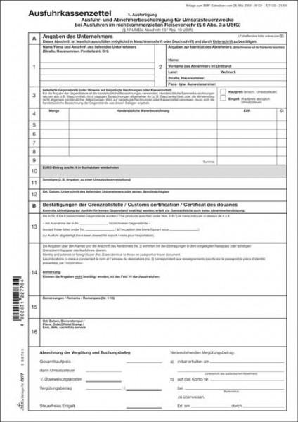 Ausfuhrkassenzettel Und Abnehmerbescheinigung für Umsatzsteuerzwecke Seite 1